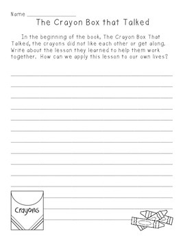 The Crayon Box that Talked Primary and Intermediate Writing Prompts