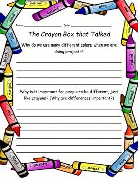 The Crayon Box that Talked Written Response Sheet