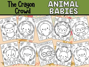 Animal Babies - The Crayon Crowd Coloring Pages, Farm and Woodland