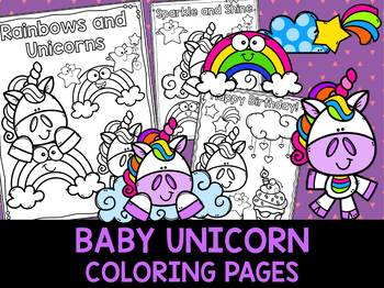 Baby Unicorns - The Crayon Crowd Coloring Pages, Birthday Options