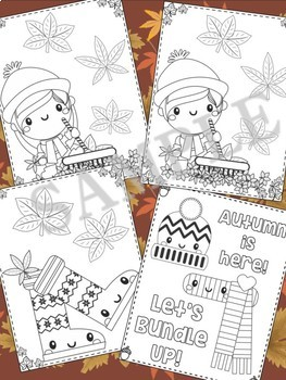 Fall into Autumn - The Crayon Crowd Coloring Pages, Pumpkins, Leaves