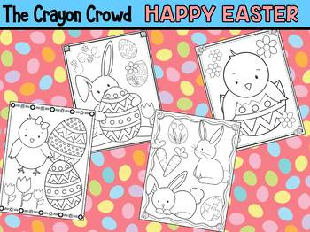 Happy Easter - The Crayon Crowd Coloring Pages, Bunnies, Chicks