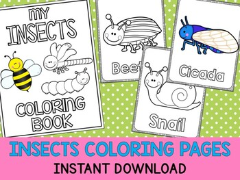 Insects and Bugs - The Crayon Crowd Coloring Pages, Spring, Words