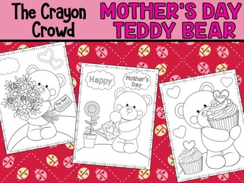 Mother's Day Teddy Bears - The Crayon Crowd Coloring Pages, Mum, Mom
