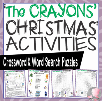 The Crayons' Christmas Activities Daywalt Crossword Puzzle and Word Searches
