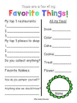 The Crazola Kid - All About Me!  Including Teacher Gift Questionnaire