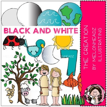The Creation clip art - Bible - BLACK AND WHITE - Melonheadz Clipart