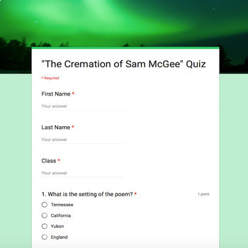 """Poetry Lesson: """"The Cremation of Sam McGee"""" by Service {Google Digital Resource}"""