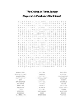 The Cricket in Times Square Chapters 1-15 Vocabulary Word Search Packet- Selden