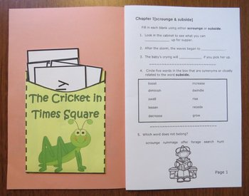 The Cricket in Times Square [George Selden] Abridged Printable Book Unit
