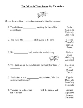 The Cricket in Times Square Key Vocabulary Worksheets