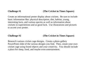 """""""The Cricket in Times Square"""", Project Challenges for the Book"""