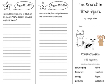 The Cricket in Times Square Trifold - Storytown 4th Grade Unit 5 Week 3