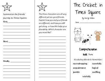 The Cricket in Times Square Trifold - Treasures 4th Grade Unit 6 Week 2 (2009)