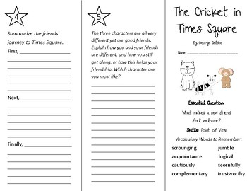 The Cricket in Times Square Trifold - Wonders 4th Grade Unit 3 Week 1