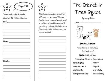 The Cricket in Times Square Trifold - Wonders 4th Grade Un
