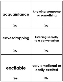 The Cricket in Times Square Vocabulary Activities/Common Core Aligned