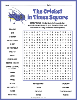 The Cricket in Times Square Word Search Puzzle