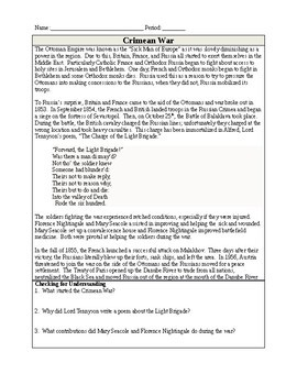 The Crimean War Quick Read - 1 Page Reading with 3 Questions