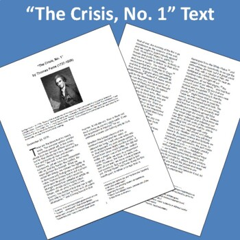 """The Crisis, No. 1"" by Thomas Paine: Text, Questions, and Key"