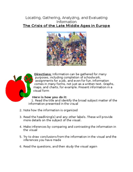 The Crisis of the Late Middle Ages in Europe- Analyzing charts & info- worksheet