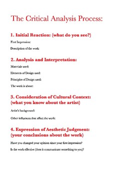 The Critical Analysis Process Poster (11x17)