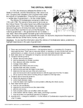 The Critical Period, AMERICAN GOVERNMENT LESSON 10 of 105, Activities+Quiz