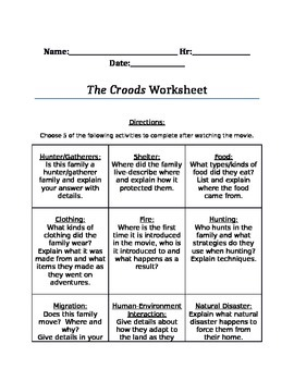 The Croods Worksheet-Stone Ages