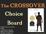 The Crossover Choice Board Novel Study Activities Menu Book Project Rubric