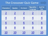 The Crossover by Kwame Alexander PowerPoint Quiz Game (Great for Smartboards)
