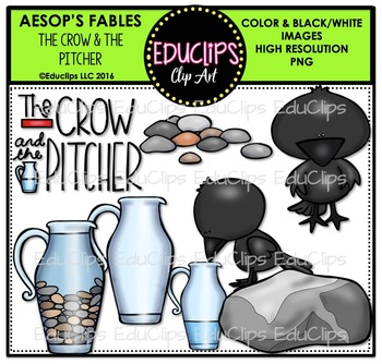 The Crow And The Pitcher (Aesop's Fable) Clip Art Bundle