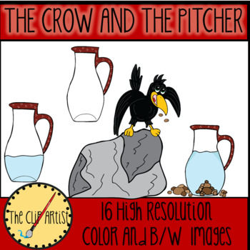 The Crow and The Pitcher (Aesop's Fable) Clipart