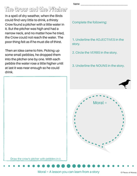 The Crow and the Pitcher {2nd grade lit unit, CCSS Literacy guidelines met}