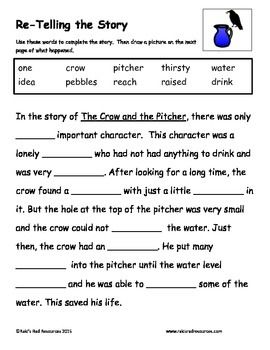 The Crow and the Pitcher - Fable Reading Response Packet