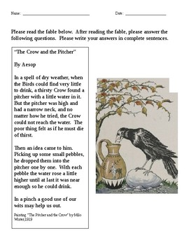 The Crow and the Pitcher No Prep Reading and Writing Activity