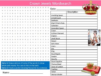 The Crown Jewels Wordsearch Puzzle Sheet Starter Activity Keywords Royalty