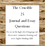 The Crucible 25 Journal and Essay Questions