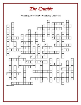 The Crucible: Prereading, 30-Word, SAT Vocabulary Crossword! Great Prep!