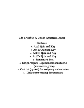 The Crucible - A Unit in American Drama