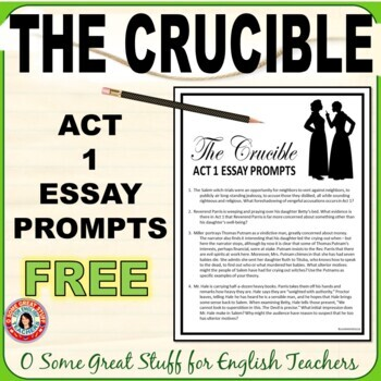 The Crucible Act 1 Questions Worksheets & Teaching Resources