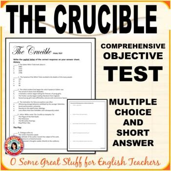 The Crucible Act I Objective Test- Multiple Choice, Matching, Short Answer & Key
