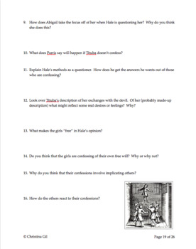 The Crucible Act 1 Questions and Answers: Worksheets | Quiz | No Prep