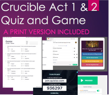 The Crucible Act 1 and 2 - Quiz Printable and Game on Themes
