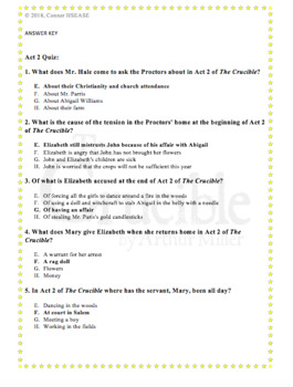 The Crucible Act 2 Quiz with ANSWER KEY-Arthur Miller