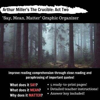 The Crucible Act 2 Say, Mean, Matter Chart