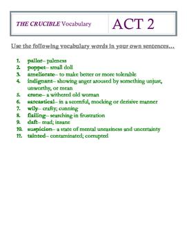 The Crucible Act 2 Vocabulary