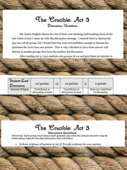 The Crucible: Act 3 Discussion Activity