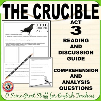 The Crucible Act 3 Questions for Comprehension and Analysis with Key