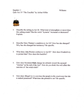 The Crucible Act 3 Quiz Version 2