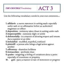 The Crucible Act 3 Vocabulary